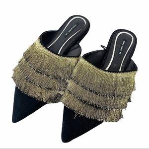 Zara Basic Collection Fringe Slip On Pointed Flats